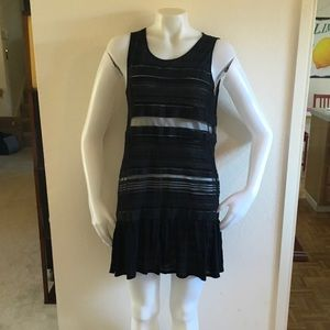 THEORY Black Sheer Knit Striped Mini Dress Sz L